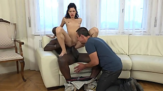Skinny brunette fucked by bbc near her husband