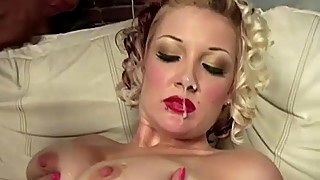 Sexy interracial babe gets facial after being fucked