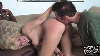 White cuckold eats black cum out of his wife's ass!
