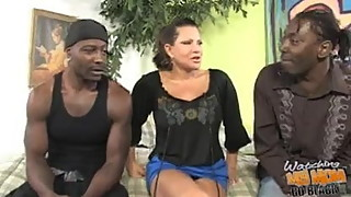 Mature mom with big boobs fucked by two black bros