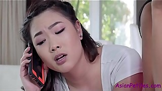 Helping ASIAN SISTER fuck her WHITE BF